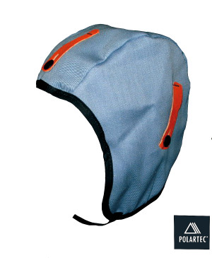 Cotton twill hard hat liner with fleece lining and added length.
