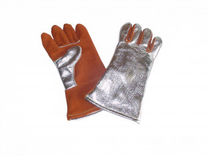 Leather Glove w/ Alum. Carbon Kevlar Back
